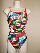 Sporti Womens One Piece Swimsuit Multi-Color Various Country Flags