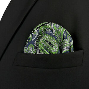 S&W SHLAX&WING Pocket Squares for Men Gray Blue Green Silk Paisley