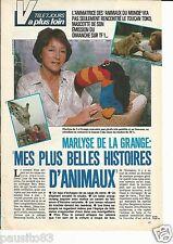 Coupure de presse Clipping 1986 Marlyse de la Grange et les Animaux (2 pages)