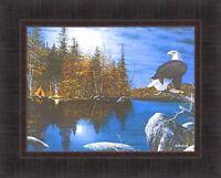 REFLECTIONS by Jim Hansel Eagle Camping Tent Lake Canoe Moon 17x21 FRAMED PRINT