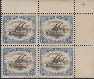 Stamp 1909 small Papua 2&1/2d Lakatoi SG62 top right corner block 4 variety