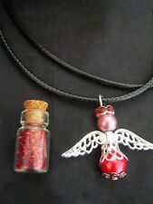Tooth Fairy Gift Set - Tooth Fairy Dust Vial, Glass Pearl Angel Necklace  RED