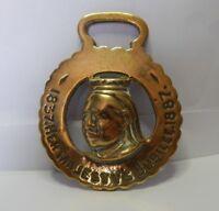 Antique Horse Brass Queen Victoria Golden Jubilee 1837 -1887 Genuine item.