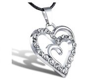 Silver Plated Crystal Heart Shape Pendant Necklace  Black Leather Cord