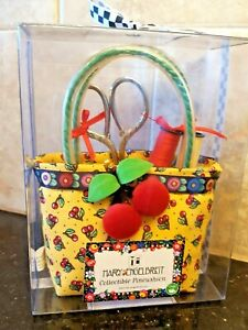 Mary Engelbreit Collectible Pincushion Cherry Print Handbag w/ Notions New Dritz