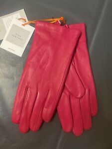 LADIES GLOVES Fleece Lined LEATHER John Lewis PINK XL BNWT Xmas Gift