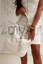 TOSCA BLU ~ Italy Designer Beuteltasche mit Quaste ECHTES LEDER weiß gold Bag