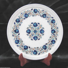 "12"" White Marble Dish Plate Decorative Lapis Lazuli Pietra Dura Handmade Gifts"