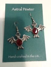 SET OF BAT ASTRAL PEWTER RED GEM STONE HAND CRAFTED IN THE UK BRAND NEW EARRINGS