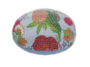 """New 20x20"""" Indian Handmade Kantha Grey Round Floor Cushion Cover Home Decorative"""