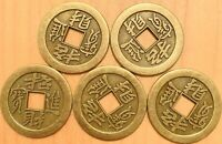 5 pieces Chinese Brass Dragon Coin Qing Dynasty Antique Vintage Currency Cash