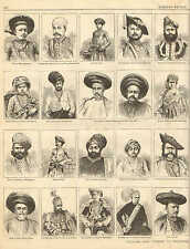 Princes And Chiefs Of Western India. Men's Fashions, Vintage, 1873 Antique Print