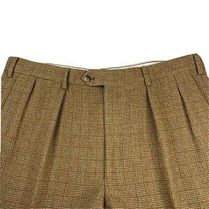 VTG 38 X 30 Paul Stuart Heavy Brown Windowpane Plaid Wool Tweed Pants Made Italy