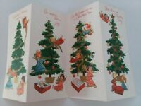 UNUSED Vtg ANGELS Decorate TREE 4 Fold CHRISTMAS GREETING CARD New Old Stock