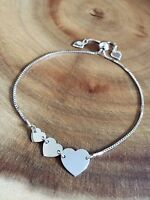 925 Sterling Silver Adjustable Heart Slider Bracelet