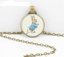 VINTAGE PETER RABBIT GLASS PICTURE PENDANT NECKLACE IN GIFT BAG BEATRIX POTTER