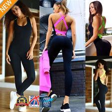 UK Women Sport Gym Yoga Running Fitness Leggings Pants Jumpsuit Athletic PP010