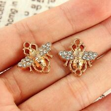10Pc Gold Little Bee Crystal Connector Charm Pendant DIY Necklace Bracelet Craft