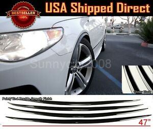 2 Pairs Flexible Slim Fender Flare Extension 3D Carbon Trim Protector For AUDI