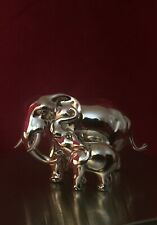 Solid Hallmarked Sterling Silver Elephant & Calf Animal Model Figure Figurine.