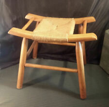 Vintage Maple & Twine Foot Stool Chair Seat ~ Asian Style Curve-Up Frame ~Strong