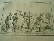 Gravure 1837 - Brézil Brazil  Comabt de Puris