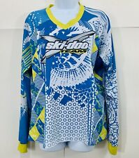 Skidoo X Team Womens Blue White Yellow Long Sleeve Colorful Jersey Sz XLarge XL