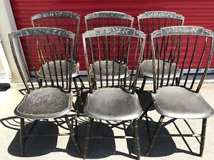 Antique Thumb Back Step Down Windsor Chairs