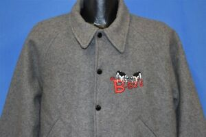 vintage 80s B-52S COWS WHAMMY TOUR WOOL BOMBER GRAY ROCK SNAP UP JACKET LARGE L