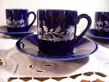 HIC Espresso Demitasse Cup Saucer Set 4 Porcelain Blue White Gold Design Japan