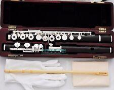 African Grenadilla Black Wooden Flute 16 holes • Silver Flute Low C foot W/ case