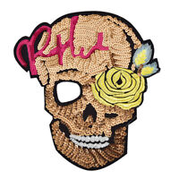 Skull sequined embroidery SewOn Patches for clothes DIY Applique Bag Clothing_SE