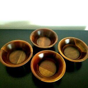 "Vintage VERMILLION Real Walnut Salad/Snack 6"" Bowls Dark Brown Set of 4 MCM"