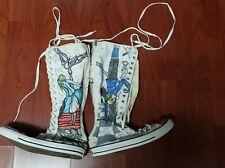 Customized Converse All Star Chuck Taylor Black Knee High Zip Unisex W 12/ M 10