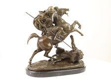 99937984-dss Bronze Sculpture Arabe Cavalier Lion Combat Figurengruppe H41cm