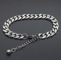 Silber Kette Armband breit 7MM Arm 18-23cm Edelstahl Panzerkette Herren Männer