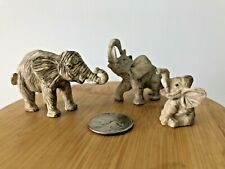 Lot of 3 Miniature Lucky Elephants Grey Figurines Family Good Luck Trunk up Box