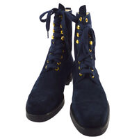 CHANEL High Cut CC Logos Short Boots Shoes Navy Suede #36 Authentic YG02066d