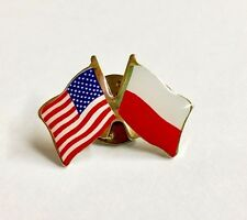 USA and Poland Crossed Friendship Flag Lapel Pin American Flag Unity