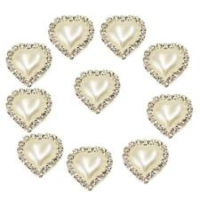 10pcs Crystal Pearl Flatback Button Wedding Embellishments Accessory White