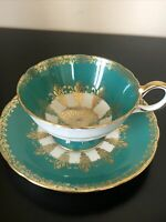 Vintage Aynsley Green Tea Cup & Saucer Bone China England Green with Gold