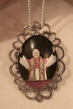 Handsome Open Silvertn Pope Benedict XVI Greeting Crowds Pendant Necklace Pin
