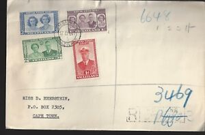 1947 Swaziland Royal Visit Set on Registered cover to Capetown SA FDC