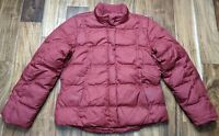 Eddie Bauer Red Maroon Goose Down Jacket Womens Large Quilted Winter Puffer Coat