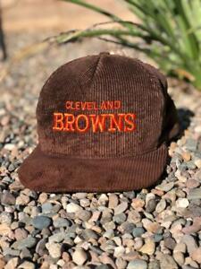 VTG 80s/90s AJD Cleveland Browns Corduroy Snapback NFL Football Hat Cap