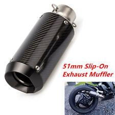51mm Motorcycle Carbon Fiber Stainless Steel Exhaust Muffler w/DB Killer Superb