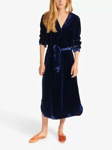 NRBY Velvet Maddie Shirt Silk Blend Dress Size Medium Dark Blue NEW RRP £250