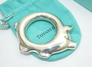 Rare! Tiffany & Co. Sterling Silver Pig Teether Baby Rattle