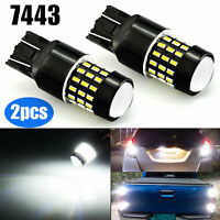 2x 7443 7440 54-SMD LED Bulbs 6000K White Backup Reverse Stop Lights Turn Signal
