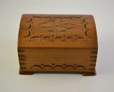 Vintage Wooden Jewellery/Trinket Box hand carved